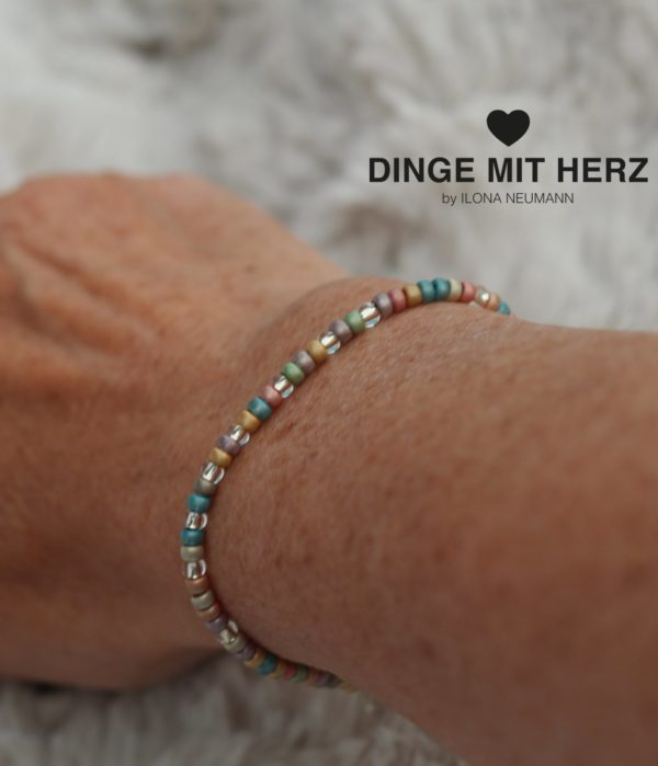Dinge mit Herz Armband Multi mini pastell matt