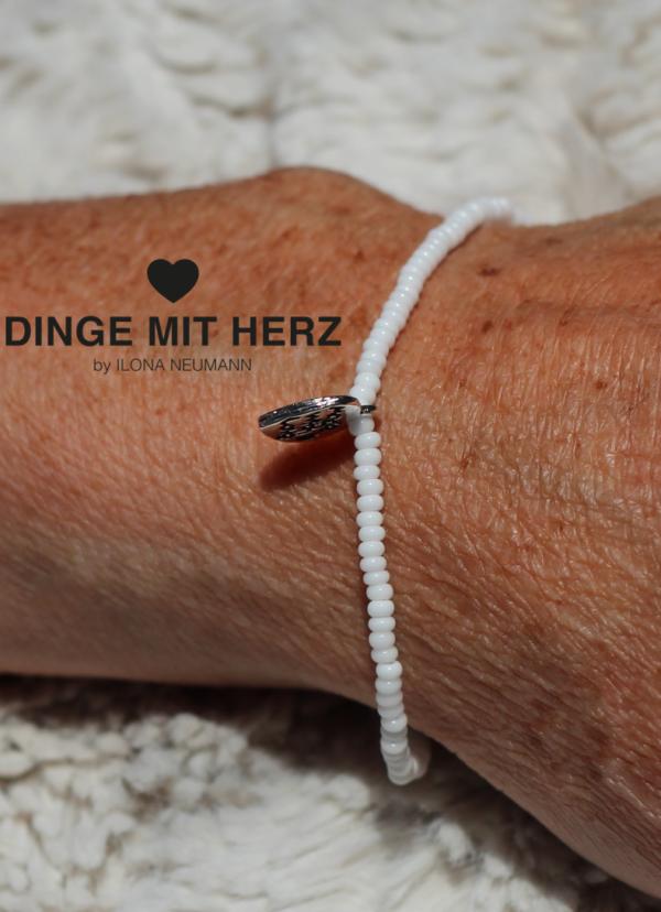 DINGE MIT HERZ Armband MICRO weiß matt