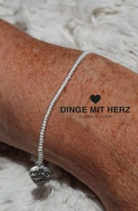 DINGE MIT HERZ Armband MICRO weiß transparent