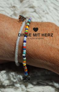 DINGE-MIT-HERZ Armband Mini weiß frosted iced matt und bunt DUO