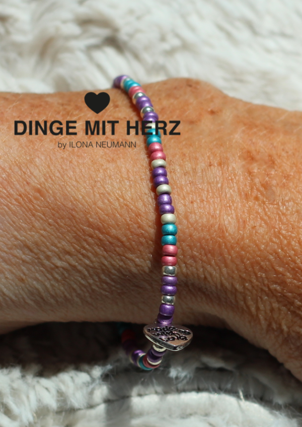 Dinge mit Herz Armband pastell türkis-rosa-lilamini pastell matt