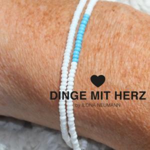 DINGE MIT HERZ Armband weiß weiß türkis DUO MICRO