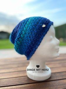 Dinge mit Herz Mütze Cento Damenmütze Wolle Merinowolle Häkelmütze Handmade blau