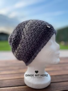 Dinge mit Herz Mütze Cento Damenmütze Wolle Merinowolle Häkelmütze Handmade Unikat dunkelgrau