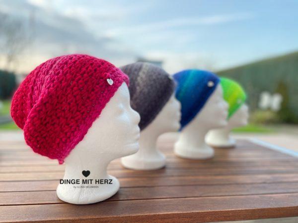 Dinge mit Herz Mütze Cento Damenmütze Wolle Merinowolle Häkelmütze Handmade Unikat