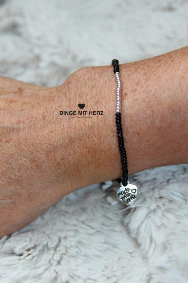 DINGE MIT HERZ ARMBAND MICRO zart rosegold schwarz glänzend