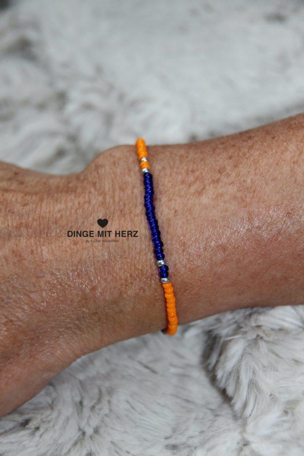 DINGE MIT HERZ Armband MINI Muster orange blau