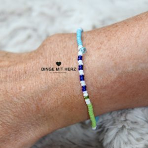 DINGE MIT HERZ Armband MINI Muster türkis blau weiß hellgrün