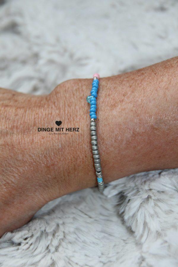 DINGE MIT HERZ Armband MINI Muster türkis grau rosa