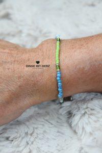 DINGE MIT HERZ Armband MINI Muster türkis hellgrün weiß