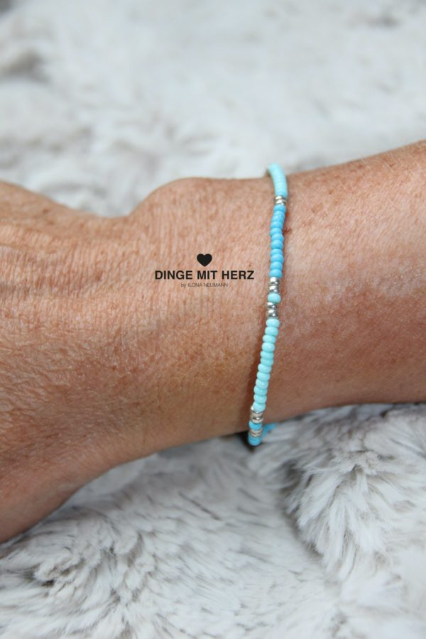 DINGE MIT HERZ Armband MINI Muster türkis mint