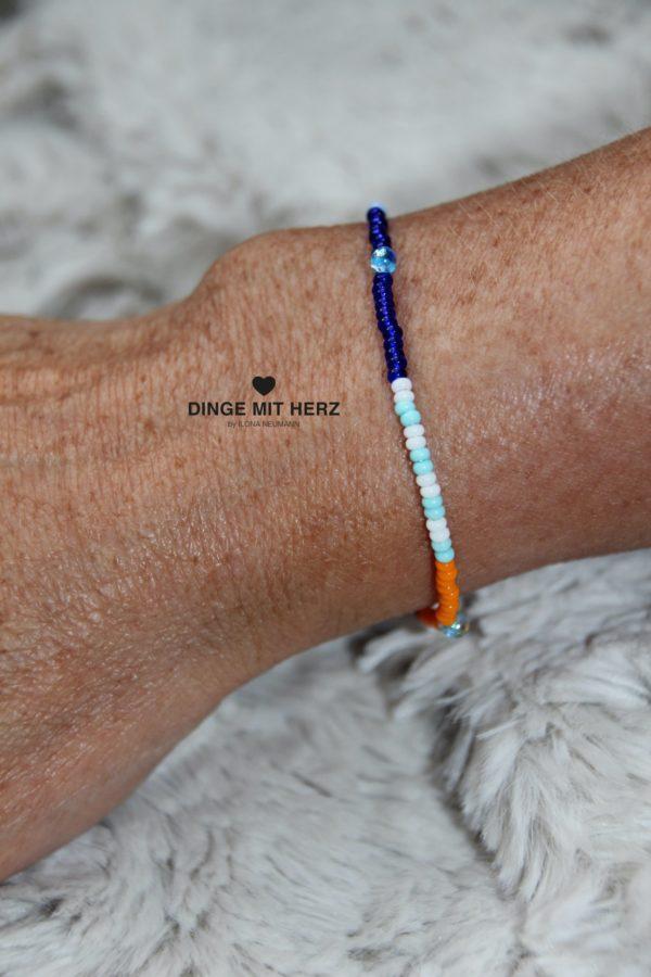 DINGE MIT HERZ Armband MINI Muster weiß blau orange türkis
