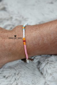 DINGE MIT HERZ Armband MINI Muster weiß hellrosa orange