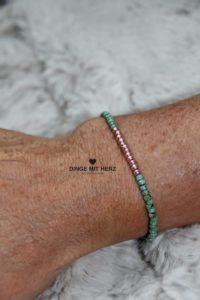 DINGE MIT HERZ Armband MINI jade rosgeold