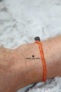 DINGE MIT HERZ Armband MINI orange schimmernd