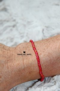 DINGE MIT HERZ Armband MINI rot-orange schimmernd