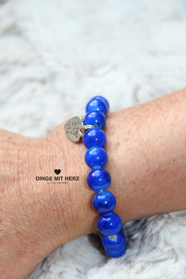 DINGE MIT HERZ Armband Sommer Sale blau groß meliert