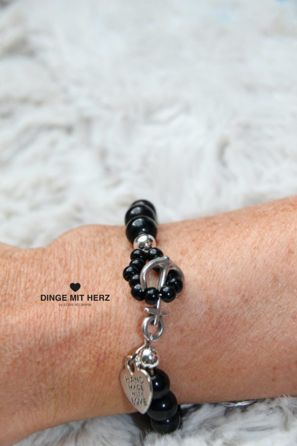 DINGE MIT HERZ Armband Sommer Sale schwarz Ankerverschluß groß