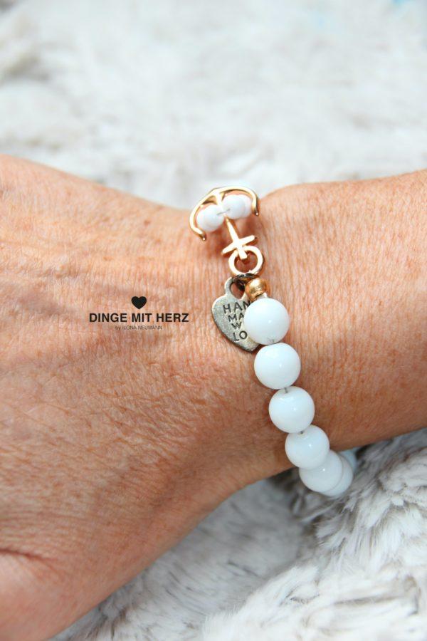 DINGE MIT HERZ Armband Sommer Sale weiß Ankerverschluß roségold groß