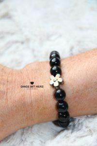 DINGE MIT HERZ Armband Sommer Sale schwarz groß Silberblüte