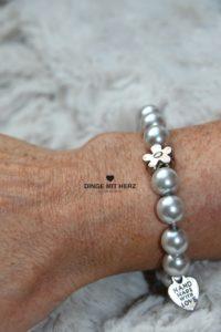 DINGE MIT HERZ Armband Sommer Sale silber hellgrau groß Silberblüte