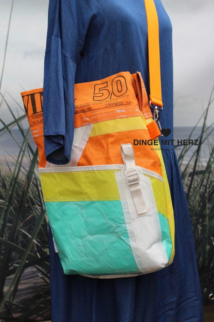Dinge mit Herz Shopper Umhängetasche aus Segel WAVE 5,0 orange gelb weiß hellgrün