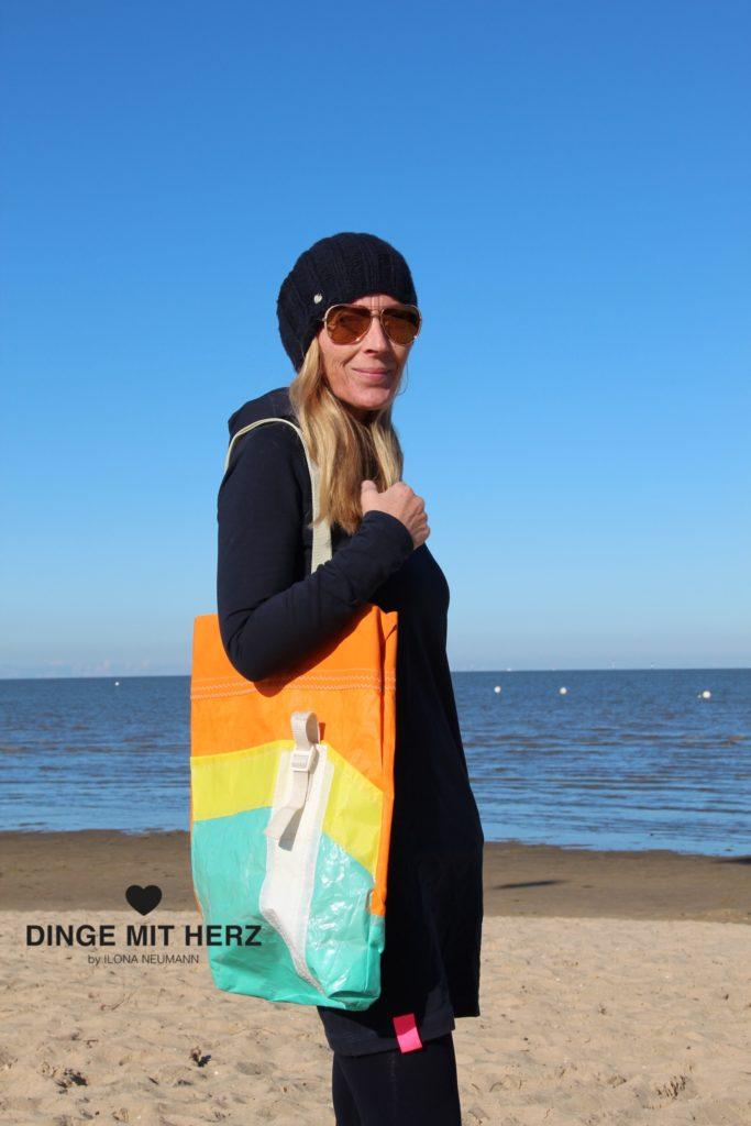 Dinge mit Herz Shopper Tasche aus Segel ART orange gelb hellgrün weiß