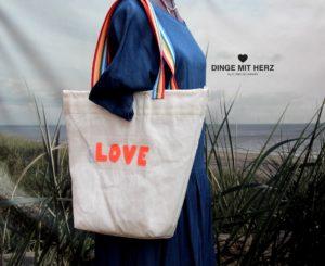 Tasche Shopper LOVE Dinge mit Herz Segel