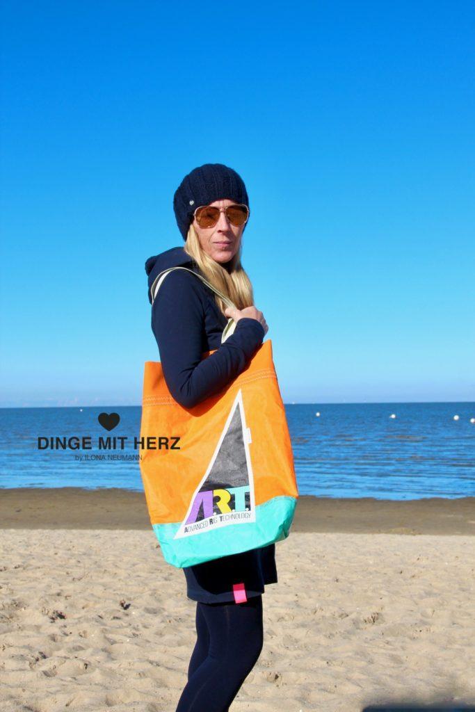 Dinge mit Herz Shopper Tasche aus Segel ART orange weiß hellgrün