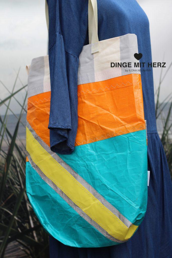 Dinge mit Herz Shopper Tasche aus gesegeltem Segel orange weiß silber gelb weiß hellgrau
