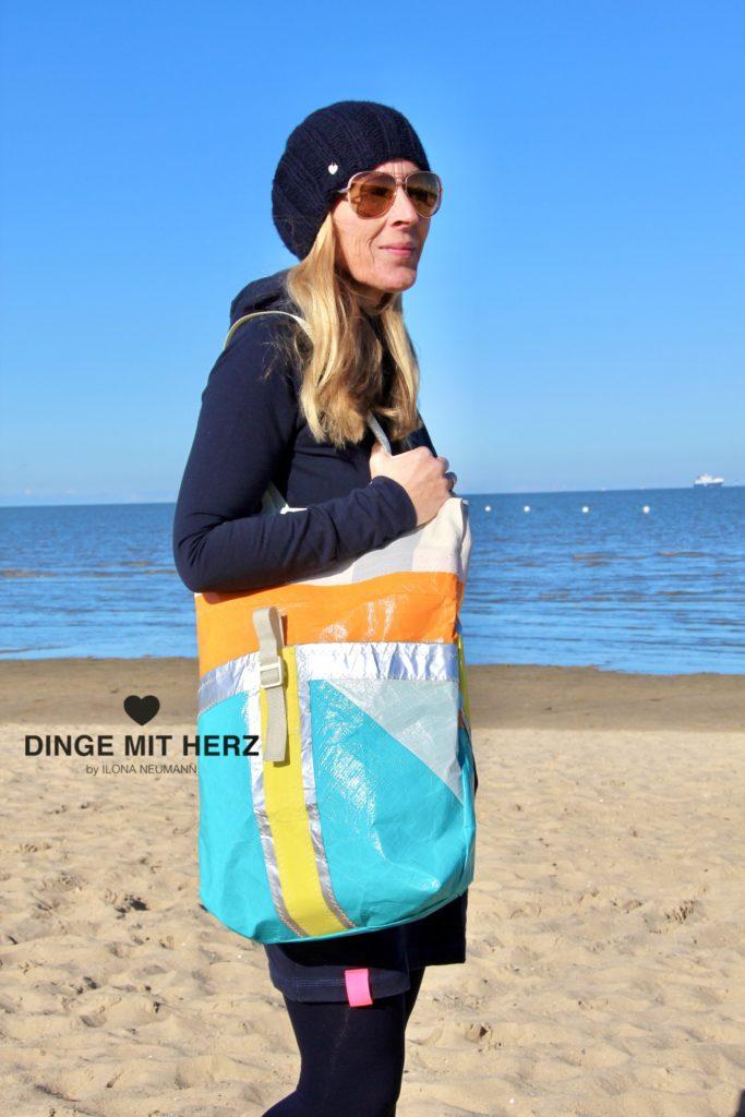 Dinge mit Herz Shopper Tasche aus gesegeltem Segel orange silber weiß gelb hellgrün