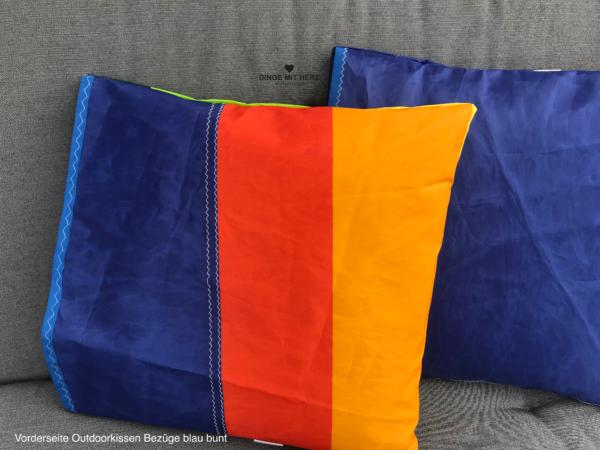 DINGE MIT HERZ Outdoor Kissenbezüge blau bunt aus gesegeltem Segel